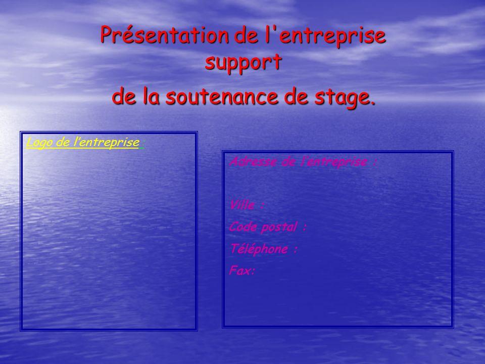 Présentation de l entreprise support de la soutenance de stage.