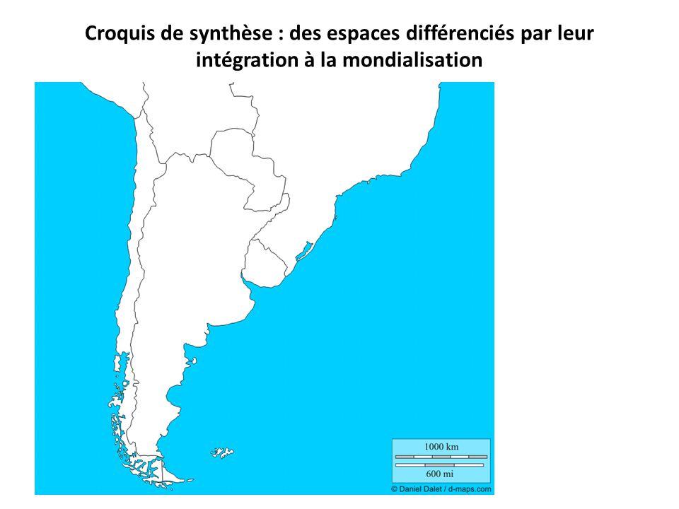 Croquis de synthèse : des espaces différenciés par leur intégration à la mondialisation