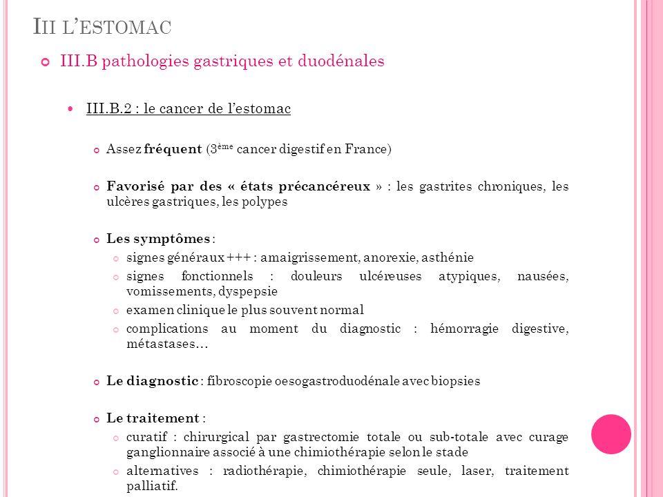 Iii l'estomac III.B pathologies gastriques et duodénales