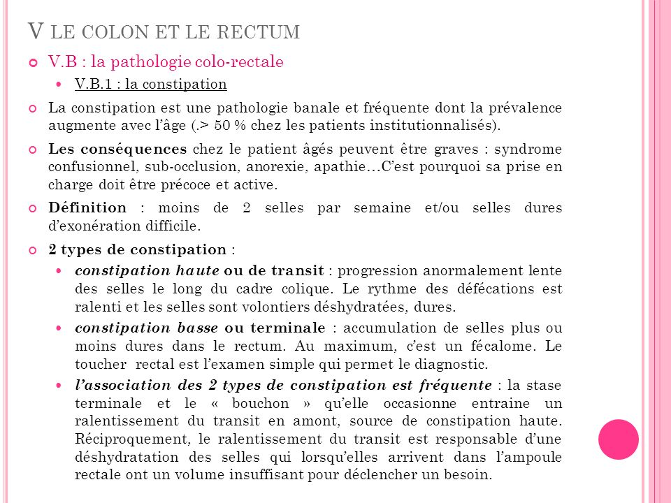 V le colon et le rectum V.B : la pathologie colo-rectale