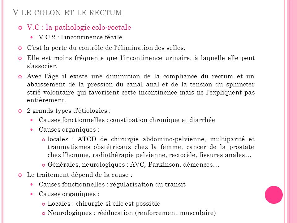 V le colon et le rectum V.C : la pathologie colo-rectale