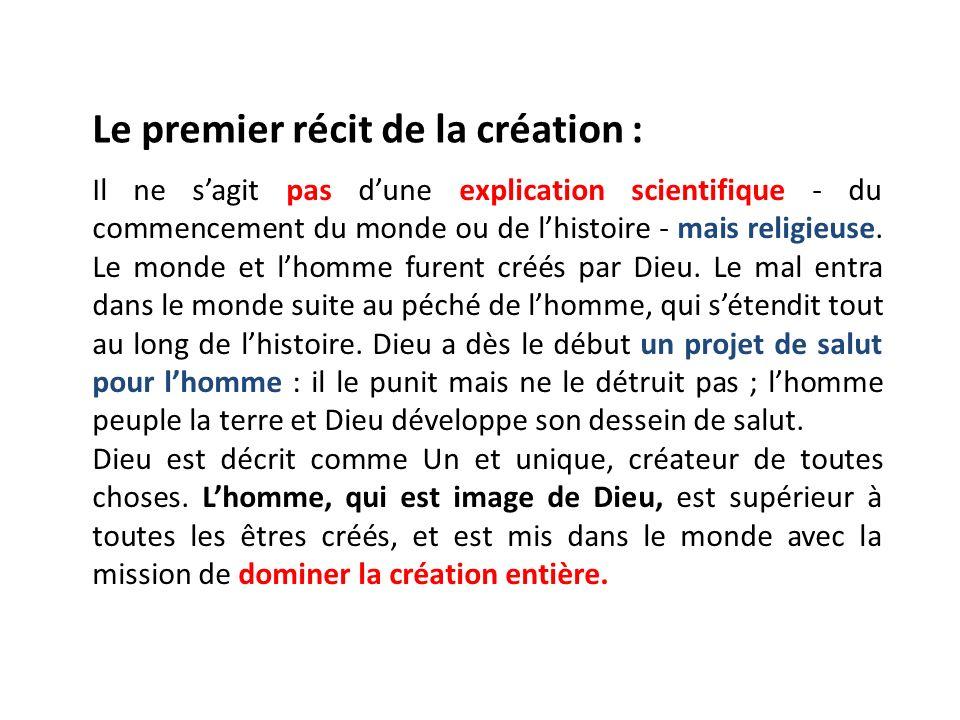 Le premier récit de la création :