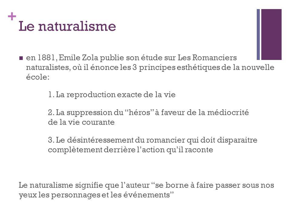 Le naturalisme en 1881, Emile Zola publie son étude sur Les Romanciers naturalistes, où il énonce les 3 principes esthétiques de la nouvelle école: