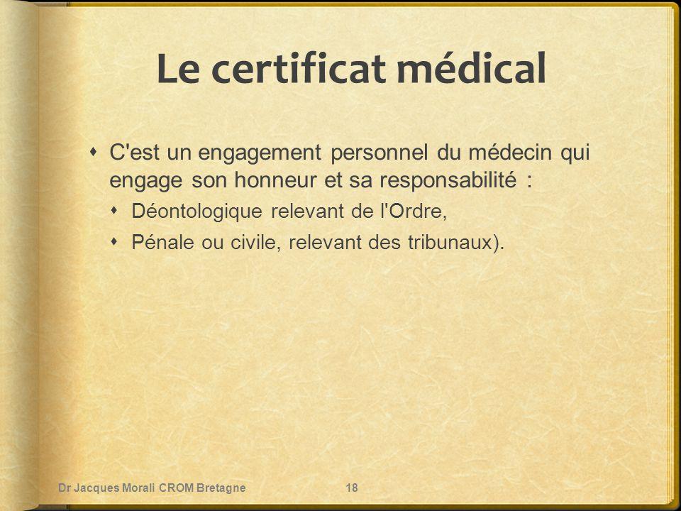 Le certificat médical C est un engagement personnel du médecin qui engage son honneur et sa responsabilité :