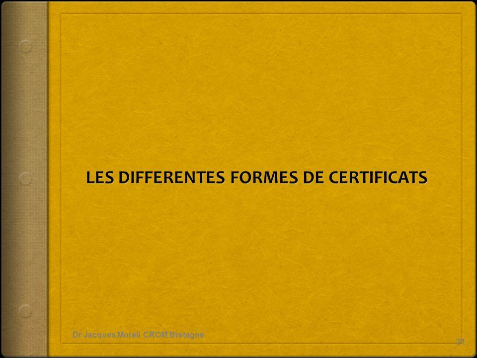 LES DIFFERENTES FORMES DE CERTIFICATS