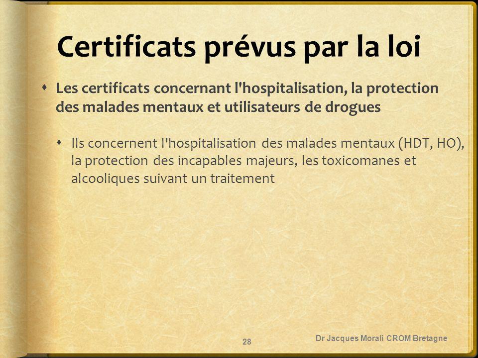 Certificats prévus par la loi