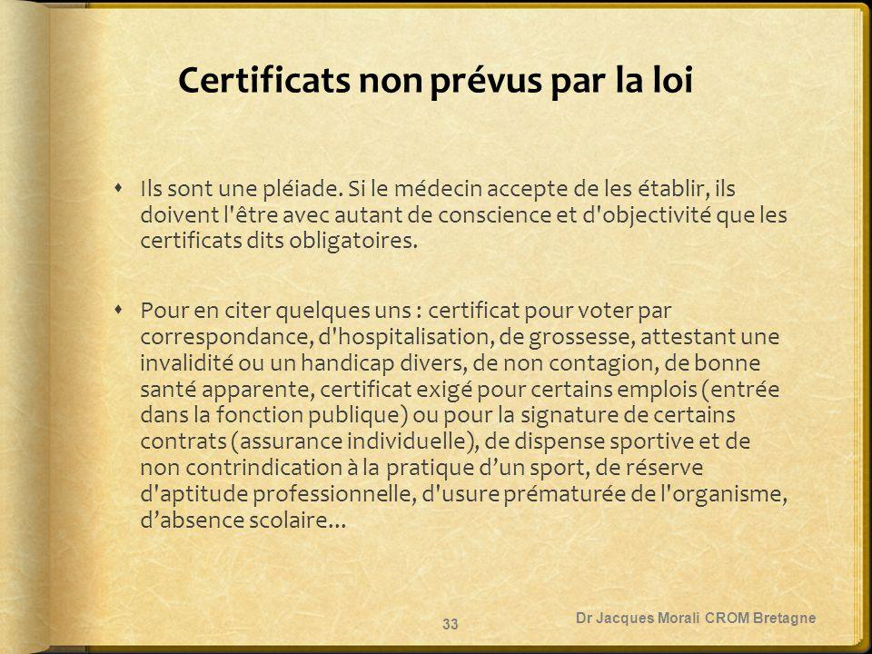 Certificats non prévus par la loi
