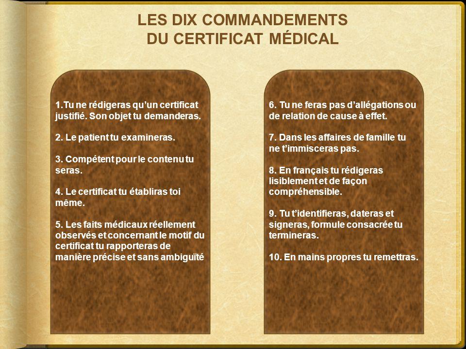 LES DIX COMMANDEMENTS DU CERTIFICAT MÉDICAL