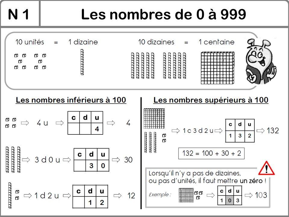 N 1 Les nombres de 0 à 999