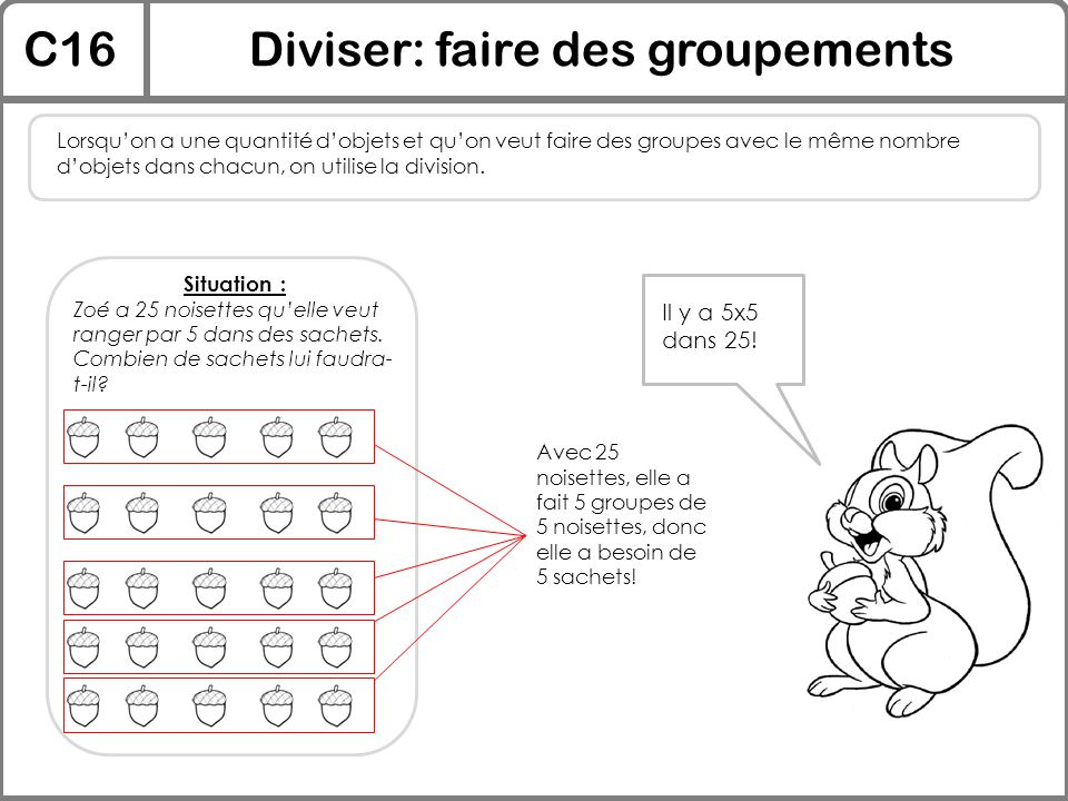 Diviser: faire des groupements