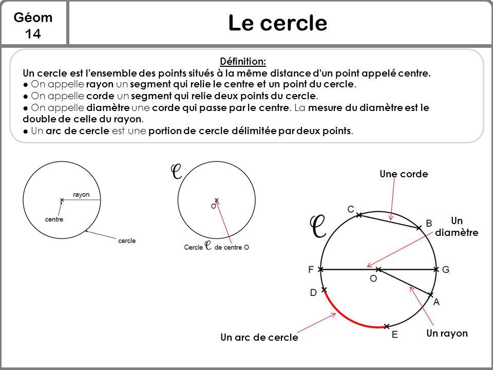 Le cercle Géom 14 Définition: