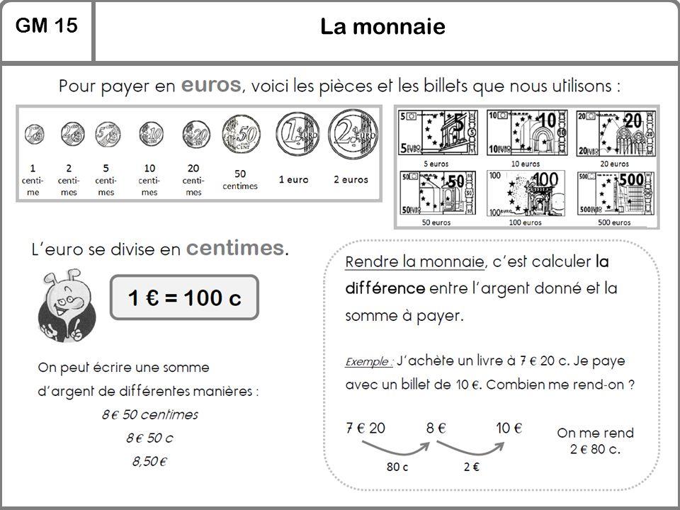 GM 15 La monnaie