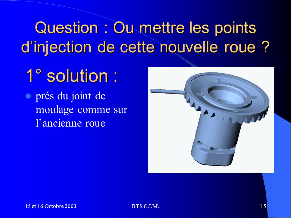 Question : Ou mettre les points d'injection de cette nouvelle roue