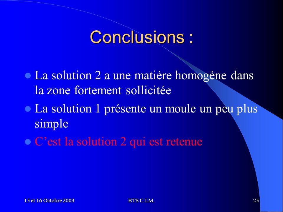 Conclusions : La solution 2 a une matière homogène dans la zone fortement sollicitée. La solution 1 présente un moule un peu plus simple.
