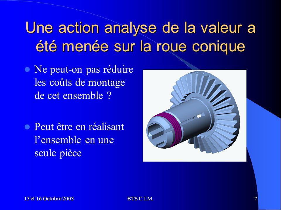 Une action analyse de la valeur a été menée sur la roue conique