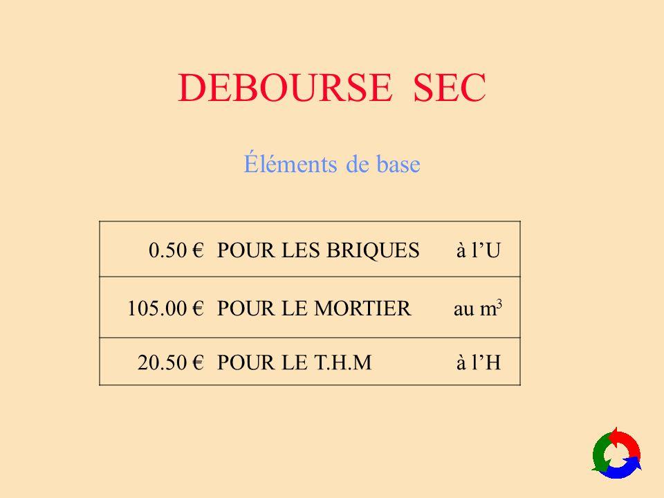 DEBOURSE SEC Éléments de base 0.50 € POUR LES BRIQUES à l'U 105.00 €