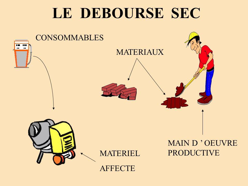 LE DEBOURSE SEC CONSOMMABLES MATERIAUX MAIN D ' OEUVRE PRODUCTIVE