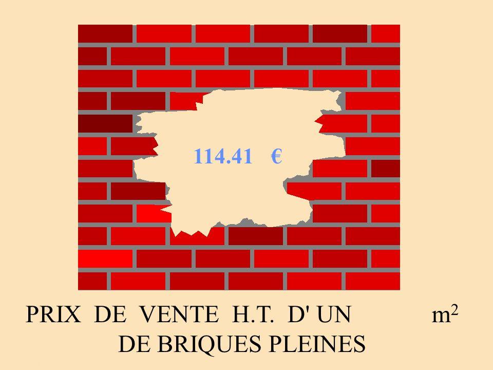PRIX DE VENTE H.T. D UN m2 DE BRIQUES PLEINES