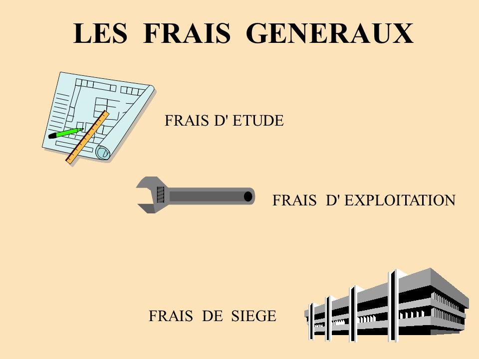 LES FRAIS GENERAUX FRAIS D ETUDE FRAIS D EXPLOITATION FRAIS DE SIEGE