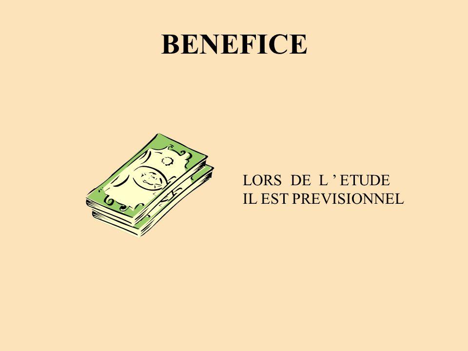 BENEFICE LORS DE L ' ETUDE IL EST PREVISIONNEL