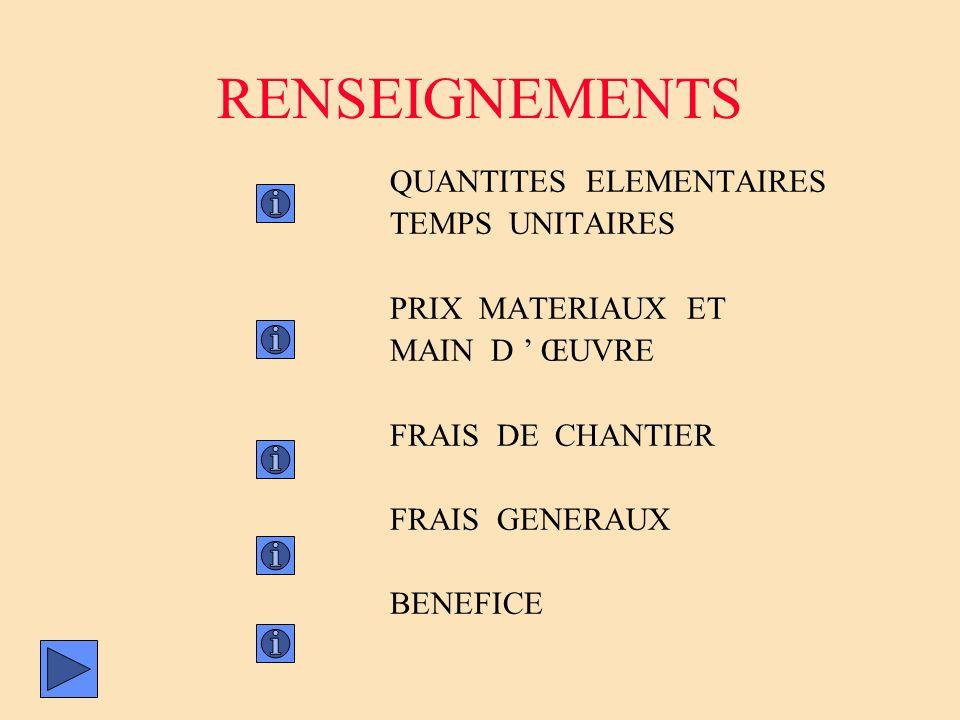 RENSEIGNEMENTS QUANTITES ELEMENTAIRES TEMPS UNITAIRES