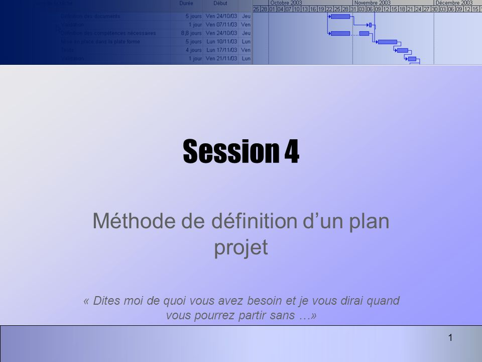Méthode de définition d'un plan projet