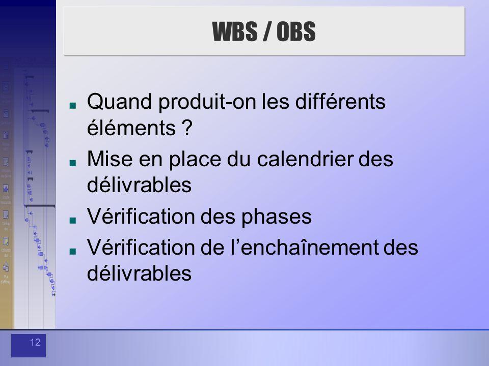 WBS / OBS Quand produit-on les différents éléments