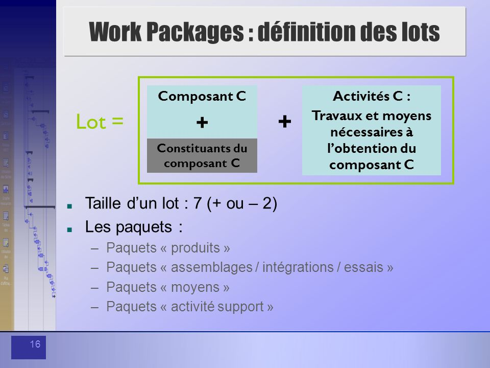 Work Packages : définition des lots