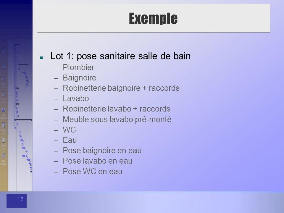 Exemple Lot 1: pose sanitaire salle de bain Plombier Baignoire
