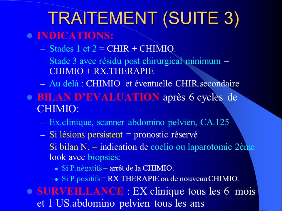 TRAITEMENT (SUITE 3) INDICATIONS: