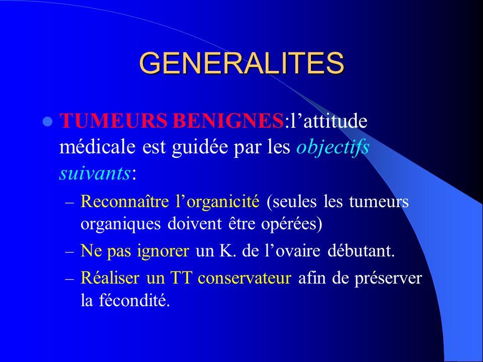 GENERALITES TUMEURS BENIGNES:l'attitude médicale est guidée par les objectifs suivants: