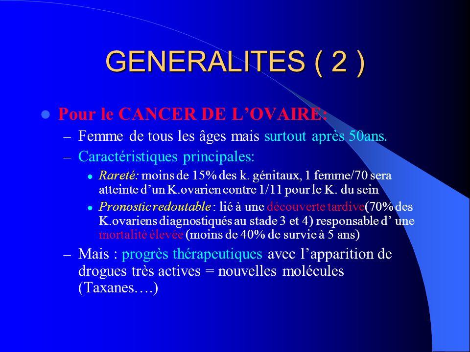 GENERALITES ( 2 ) Pour le CANCER DE L'OVAIRE:
