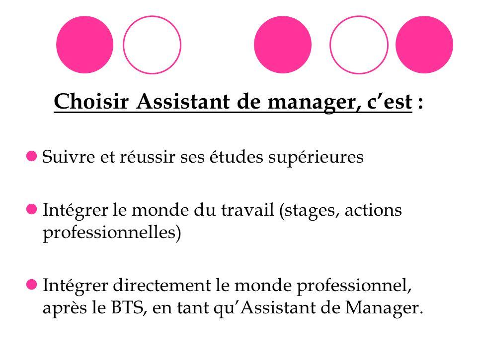 Choisir Assistant de manager, c'est :