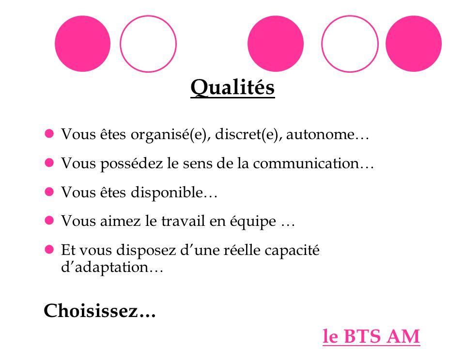 Qualités Choisissez… Vous êtes organisé(e), discret(e), autonome…