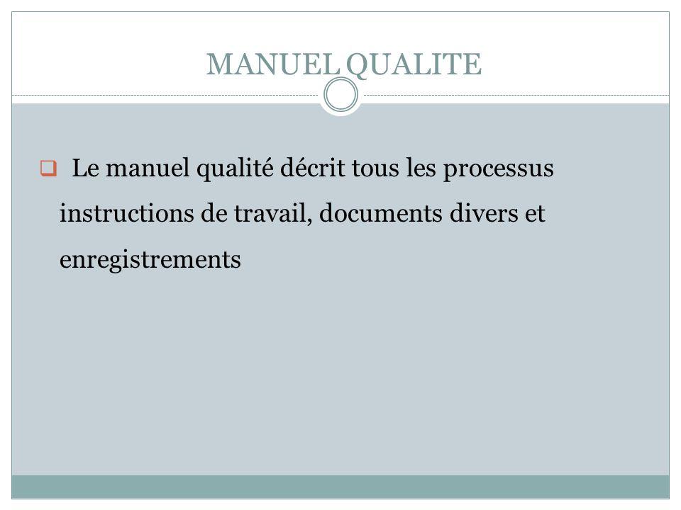 MANUEL QUALITE Le manuel qualité décrit tous les processus instructions de travail, documents divers et enregistrements.