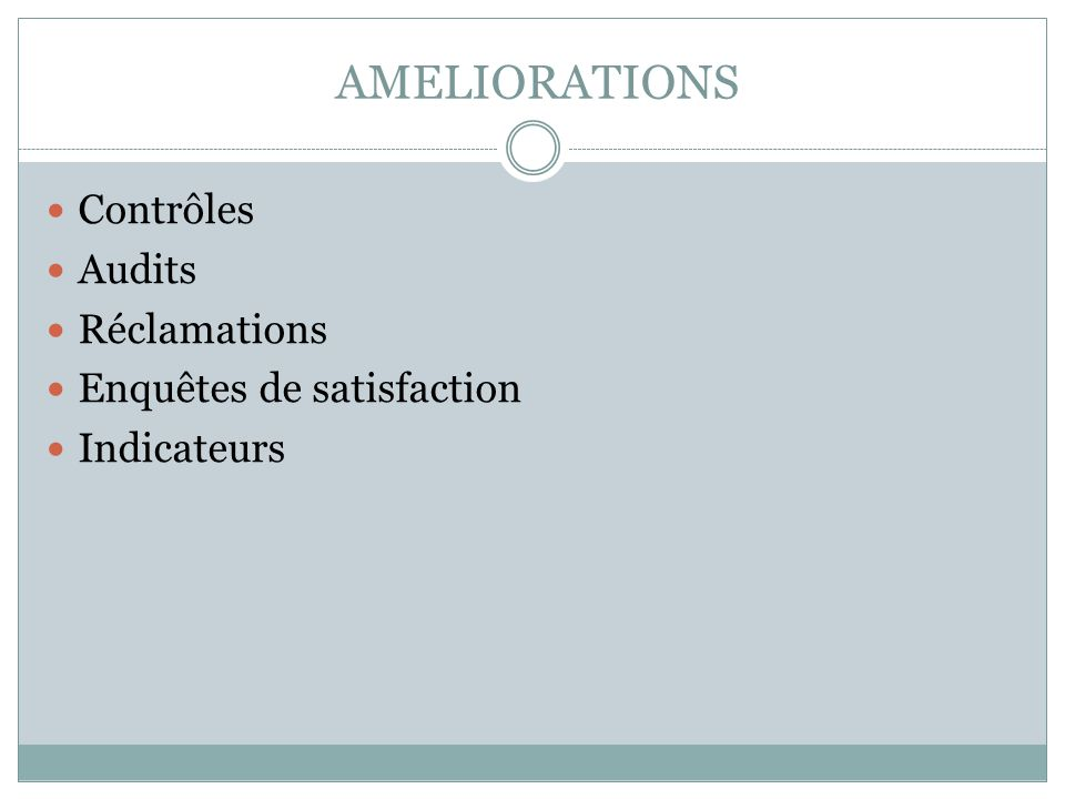 AMELIORATIONS Contrôles Audits Réclamations Enquêtes de satisfaction