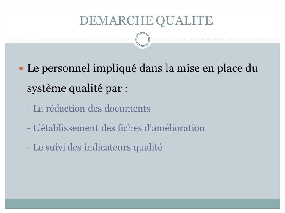 DEMARCHE QUALITE Le personnel impliqué dans la mise en place du système qualité par : - La rédaction des documents.