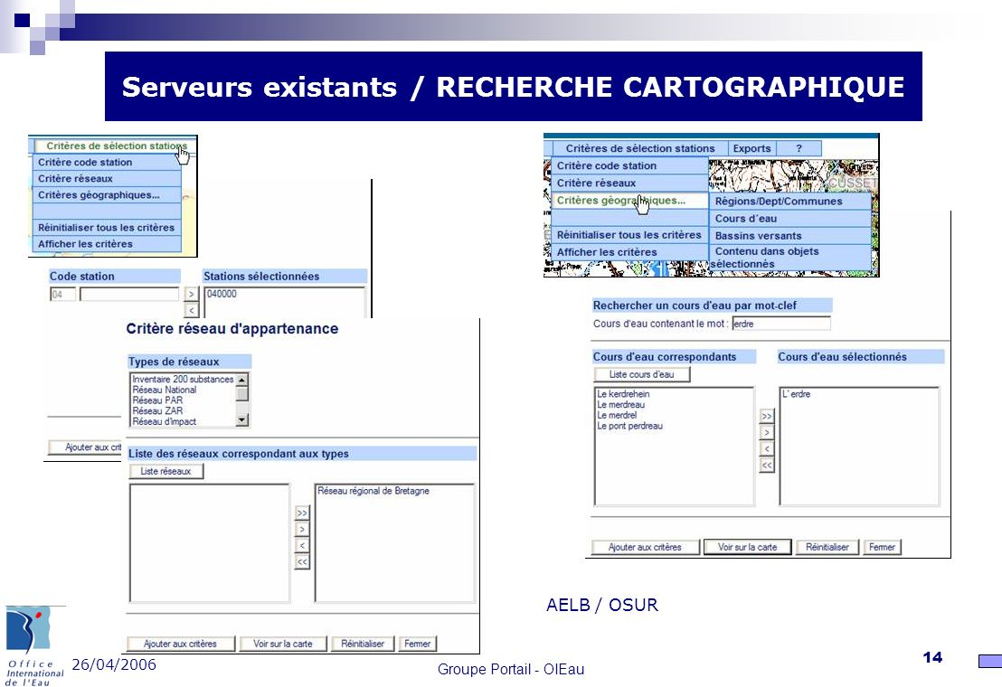 Serveurs existants / RECHERCHE CARTOGRAPHIQUE