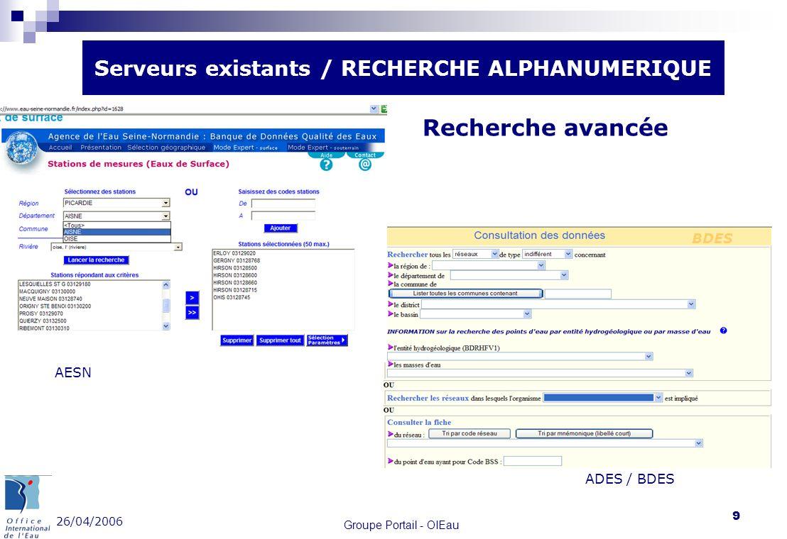 Serveurs existants / RECHERCHE ALPHANUMERIQUE
