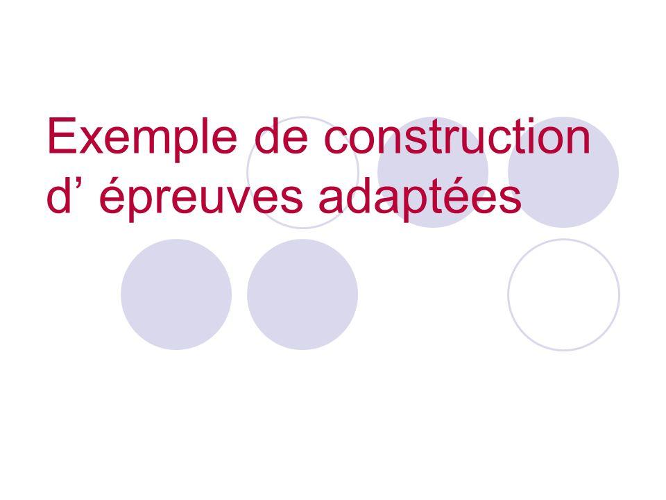 Exemple de construction d' épreuves adaptées