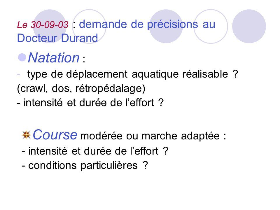 Le 30-09-03 : demande de précisions au Docteur Durand