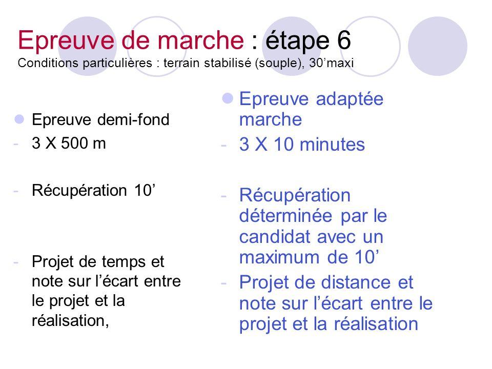 Epreuve de marche : étape 6 Conditions particulières : terrain stabilisé (souple), 30'maxi