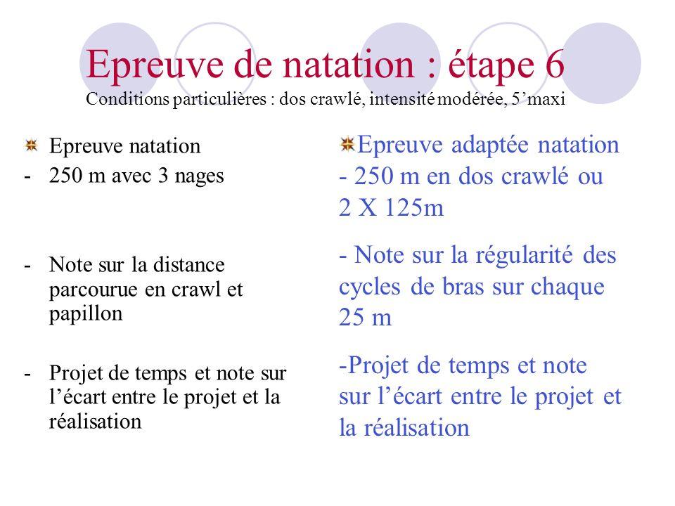 Epreuve de natation : étape 6 Conditions particulières : dos crawlé, intensité modérée, 5'maxi