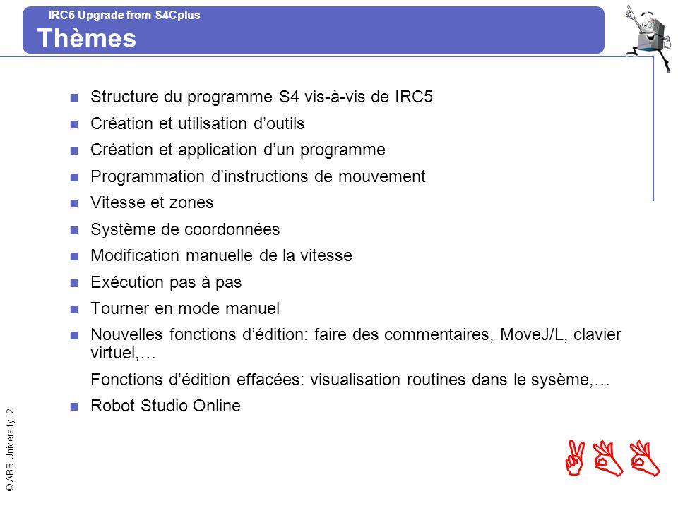 Thèmes Structure du programme S4 vis-à-vis de IRC5