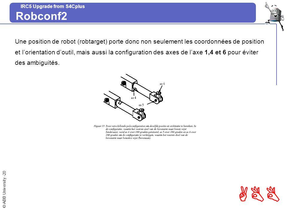 Robconf2 Une position de robot (robtarget) porte donc non seulement les coordonnées de position.