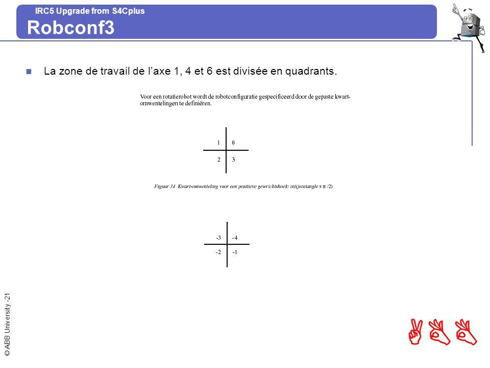 Robconf3 La zone de travail de l'axe 1, 4 et 6 est divisée en quadrants.