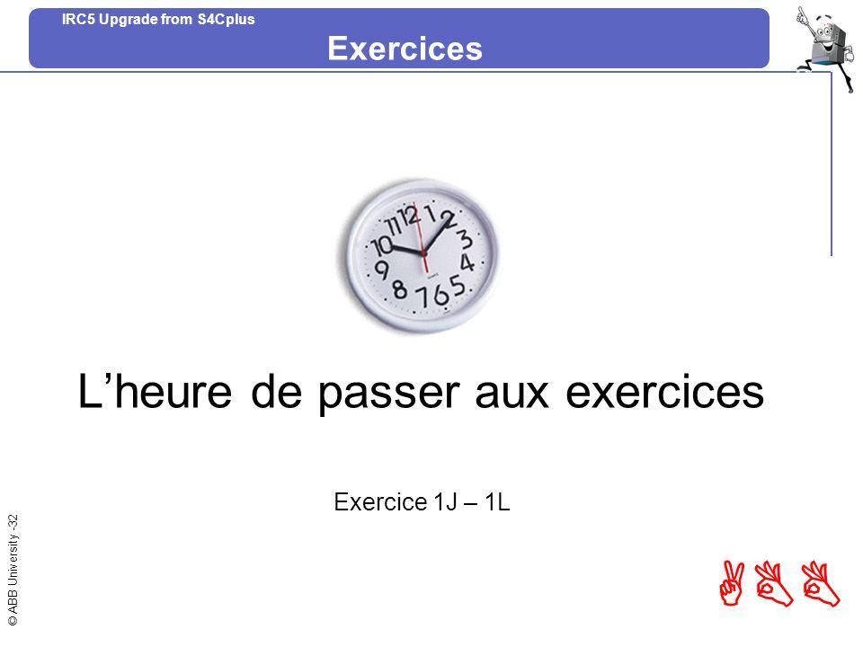L'heure de passer aux exercices