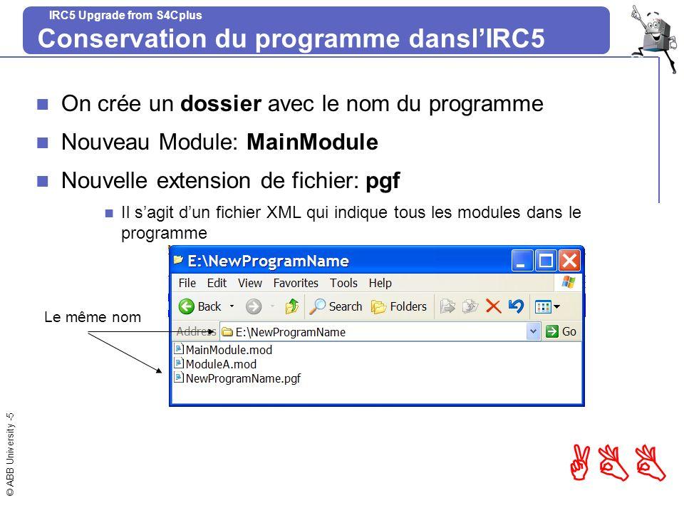 Conservation du programme dansl'IRC5