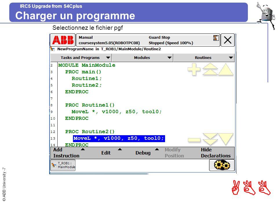 Charger un programme Selectionnez le fichier pgf