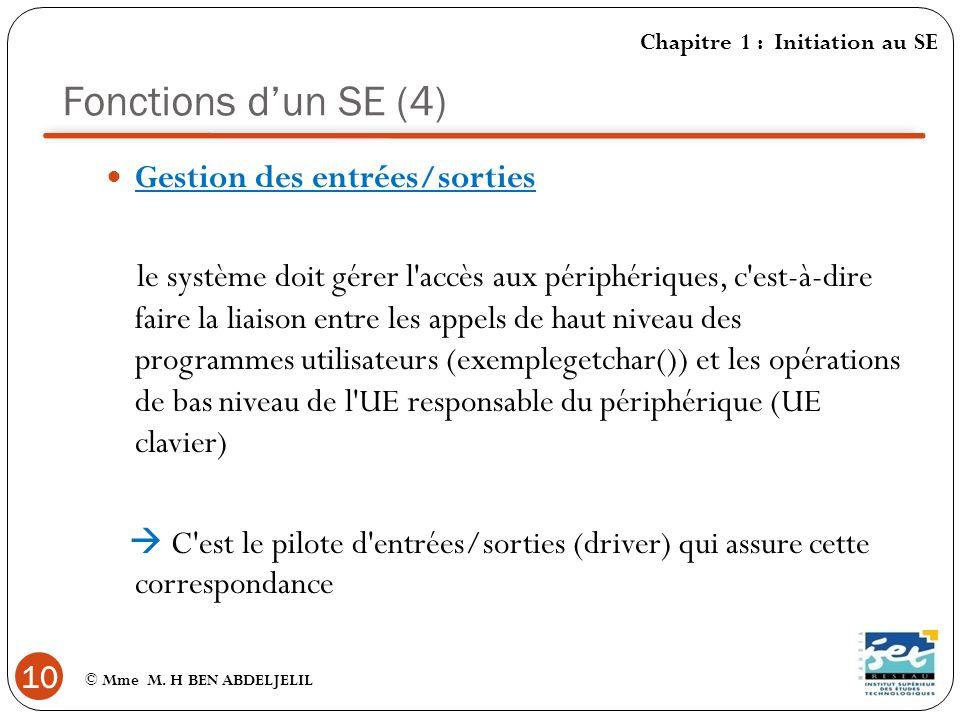 Fonctions d'un SE (4) Gestion des entrées/sorties